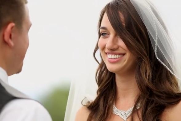 outdoor wedding bride long hair
