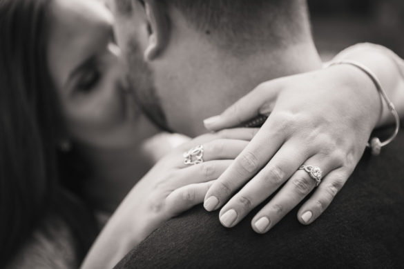 engagement ring kissing