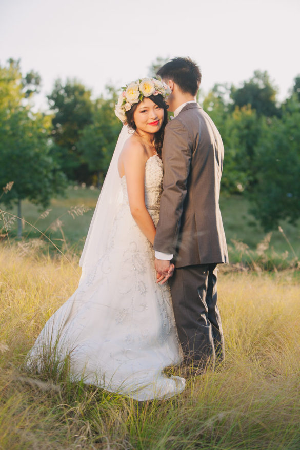 bride and groom tall grass