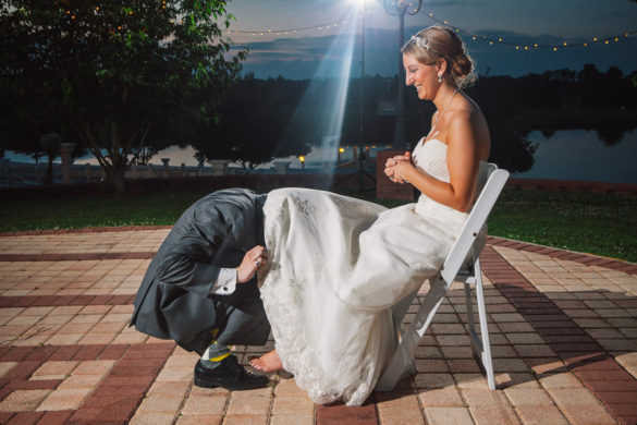 funny wedding garter removal