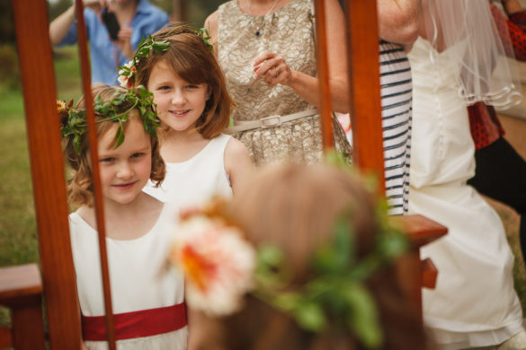flower girls with wedding flower headband