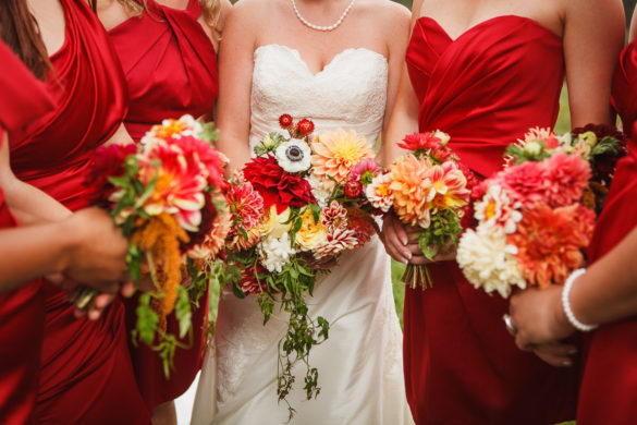 red and white organic wedding flower bouquets