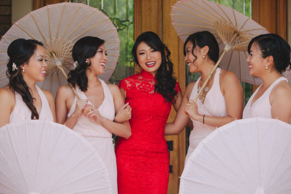 asian wedding bridesmaids with paper parasols