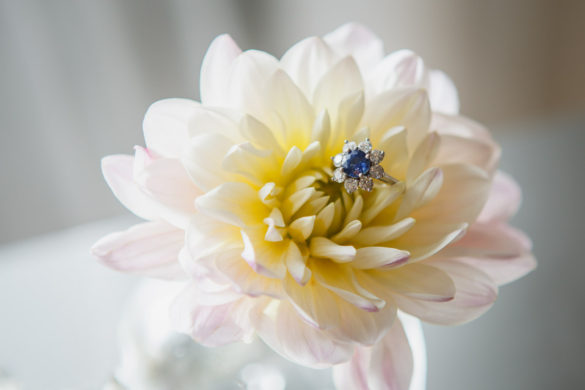 blue sapphire engagement ring in flowers