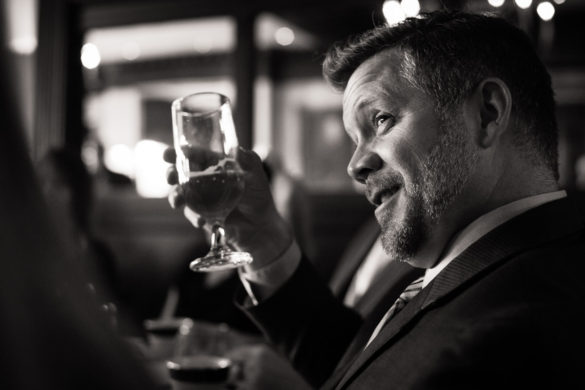 cheers gesture from wedding guest