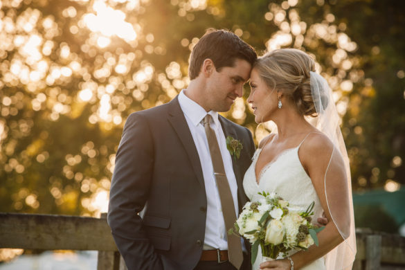 sunset bride and groom horse farm