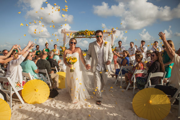 mexico wedding rose petals ceremony