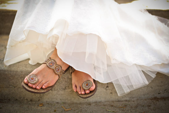 bride wedding sandals on steps