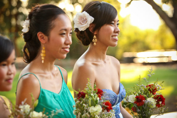 bridesmaids getting emotional outdoor wedding