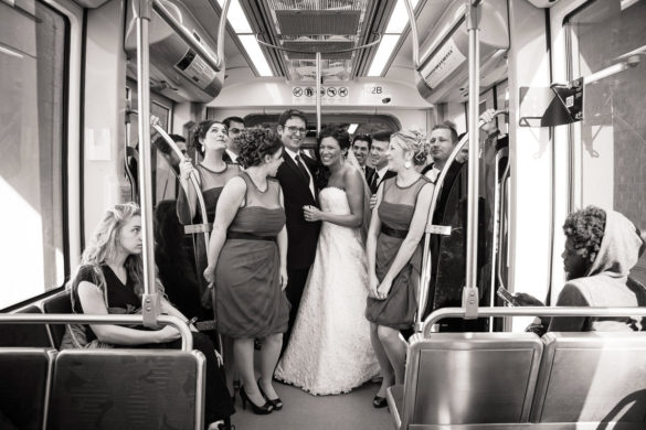 LYNX light rail charlotte wedding bride and groom