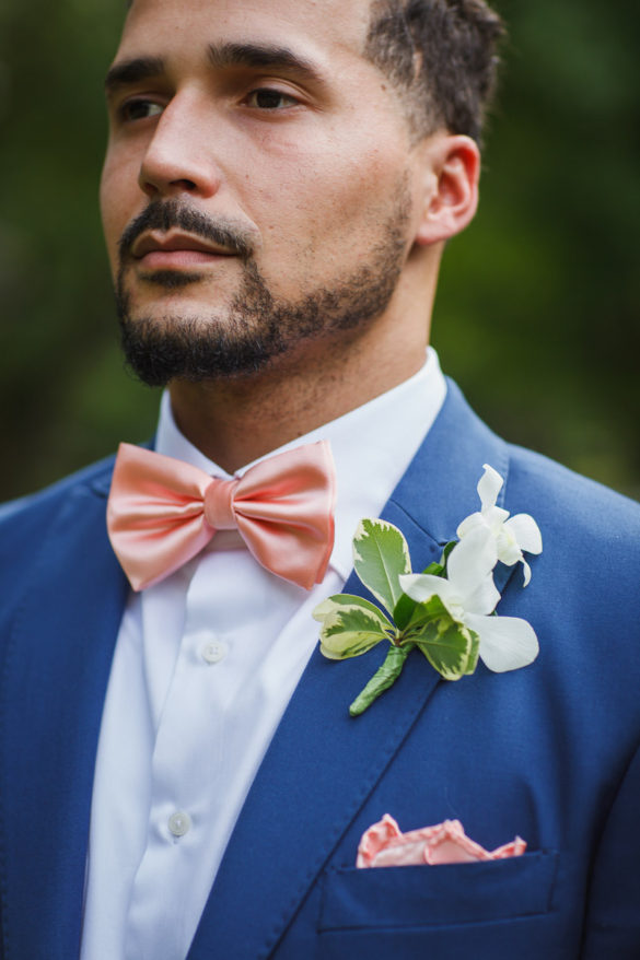 pink bow tie wedding suit
