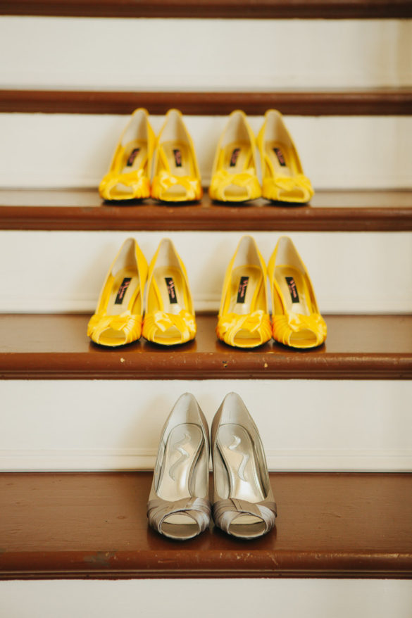 yellow and silver wedding shoes staircase