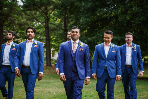 blue and pink wedding suit