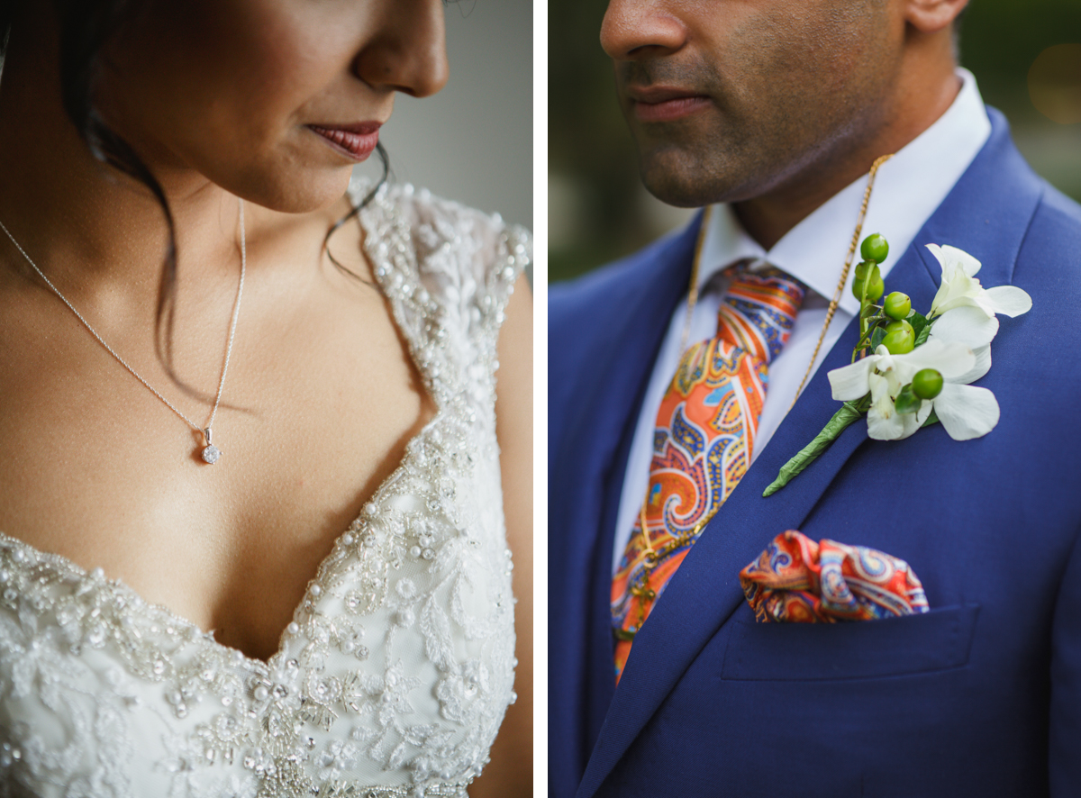 bride diamond necklace groom orange tie