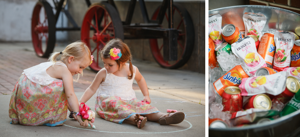 kids with chalk wedding reception
